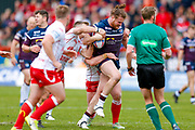 Leeds Rhinos interchange Anthony Mullally (16) powers through during the Betfred Super League match between Hull Kingston Rovers and Leeds Rhinos at the Lightstream Stadium, Hull, United Kingdom on 29 April 2018. Picture by Simon Davies.