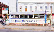 Exterior Color Photograph of Miss Worcester Diner in Worcester, MA.