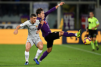 Alessandro Florenzi of AS Roma and Federico Chiesa of Fiorentina compete for the ball  during the Serie A 2018/2019 football match between ACF Fiorentina and AS Roma at stadio Artemio Franchi, Firenze, November 03, 2018 <br />  Foto Andrea Staccioli / Insidefoto