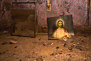Inside home destroyed by Hurricane Katrina in New Orleans.