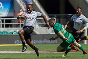 Twickenham, United Kingdom. 3rd June 2018, HSBC London Sevens Series. Game 38 Cup Semi Final. Fiji vs Ireland. <br /> <br /> Fuji's, Waisea NACUQU, evade Ian FITZPATRICK's, swing arm tackle , during the Rugby 7's, match played at the  RFU Stadium, Twickenham, England, <br /> <br /> <br /> <br /> © Peter SPURRIER/Alamy Live News