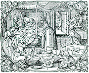 A confinement showing complete lack of hygiene with people eating and drinking, a child playing, and a dog gnawing a bone, all in the same room in which a baby has just been delivered.  From Pliny 'Naturalem Historiam', Frankfurt-am-Main, 1582.  Woodcut.