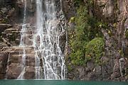 Waterfall into Todos los Santos Lake in Chile