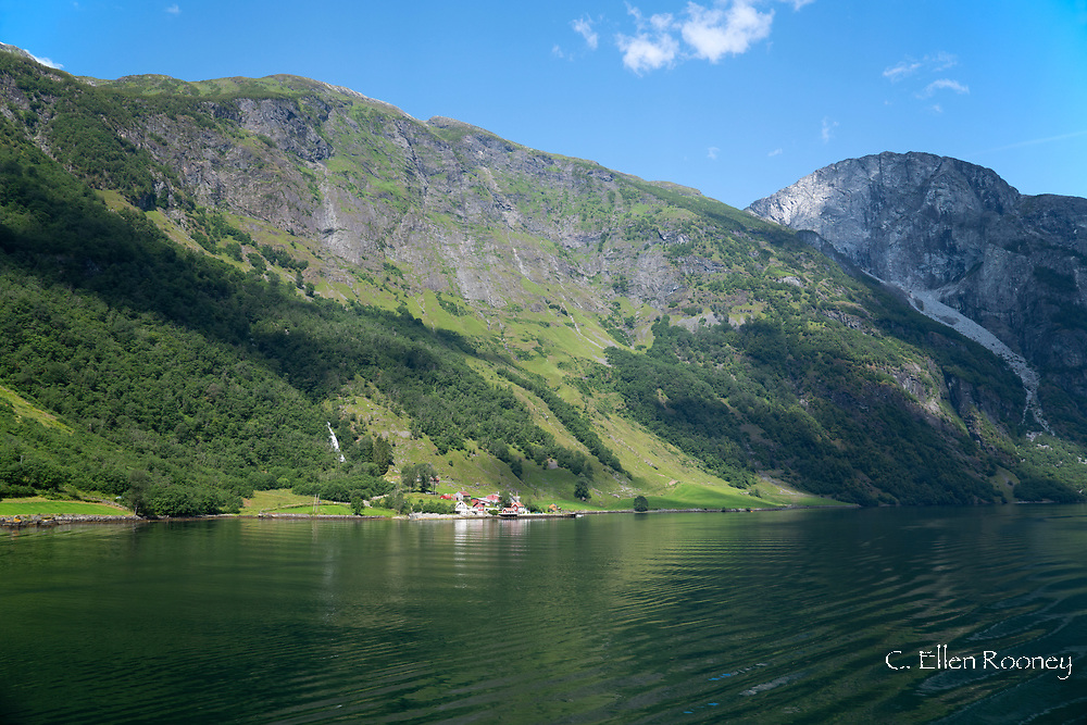 A scenic view of mountains from a boat on Naeroy Fjord, Vestlandet, Norway, Europe