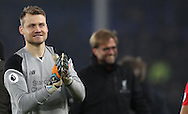Simon Mignolet of Liverpool after  the English Premier League match at Goodison Park, Liverpool. Picture date: December 19th, 2016. Photo credit should read: Lynne Cameron/Sportimage