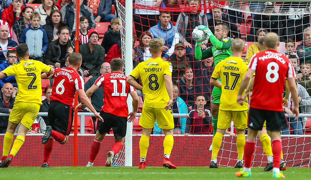 Fleetwood Town's Alex Cairns makes a save from a Sunderland free kick<br /> <br /> Photographer Alex Dodd/CameraSport<br /> <br /> The EFL Sky Bet League One - Sunderland v Fleetwood Town - Saturday September 8th 2018 - Stadium of Light - Sunderland<br /> <br /> World Copyright © 2018 CameraSport. All rights reserved. 43 Linden Ave. Countesthorpe. Leicester. England. LE8 5PG - Tel: +44 (0) 116 277 4147 - admin@camerasport.com - www.camerasport.com