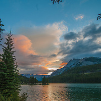 Dawn breaks over Mount Inglismaldie and Two Jack Lake in Banff National Park, Alberta, Canada.