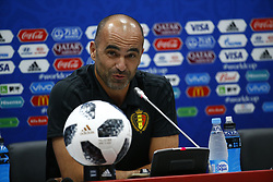 June 17, 2018 - Sochi, Russie - SOCHI, RUSSIA - JUNE 17 : Roberto Martinez head coach of Belgian Team and Thibaut Courtois goalkeeper of Belgium  during the press conference prior to the FIFA 2018 World Cup Russia group G phase match between Belgium and Panama at the Fisht Stadium on June 17, 2018 in Sochi, Russia, 17/06/2018 (Credit Image: © Panoramic via ZUMA Press)