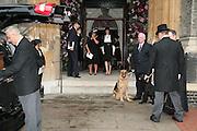 Lucy Ferry,  Robin Birley,  Lady Annabel Goldsmith and India Jane Birley. Mark Birley's  dogs, black labrador George and Alsatian Tara Mark Birley funeral. St Paul's , Knightsbridge. London. 19 September 2007. -DO NOT ARCHIVE-© Copyright Photograph by Dafydd Jones. 248 Clapham Rd. London SW9 0PZ. Tel 0207 820 0771. www.dafjones.com.