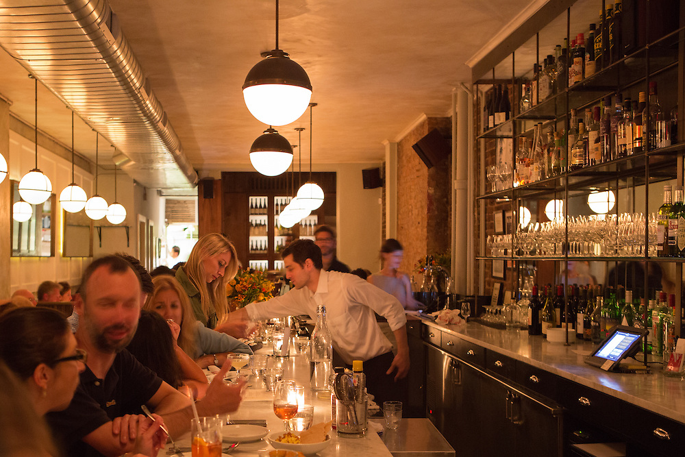 New York, NY, Sept. 10....shots of the restaurant Estela. The bar area, looking back towards the dining room and dining nook.