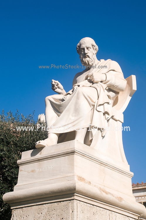 Statue of Plato at the Academy of Athens, part of the architectural trilogy designed by Danish architect Theopil Hansen, Athens, Greece