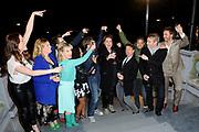 Finale utzending Wie is de Mol vanuit het Vondel CS, Vondelpark Amsterdam.<br /> <br /> Op de foto:  Rik van de Westelaken (winnaar) ,  Marlijn Weerdenburg  (verliezer) en de Mol  Margriet van der Linden met de afvallers Pieter Derks, Evelien Bosch, Ajouad El Miloudi, Viktor Brand, Carolina Dijkhuizen, Martine Sandifort, Chris Zegers en presentator Art Rooijakkers