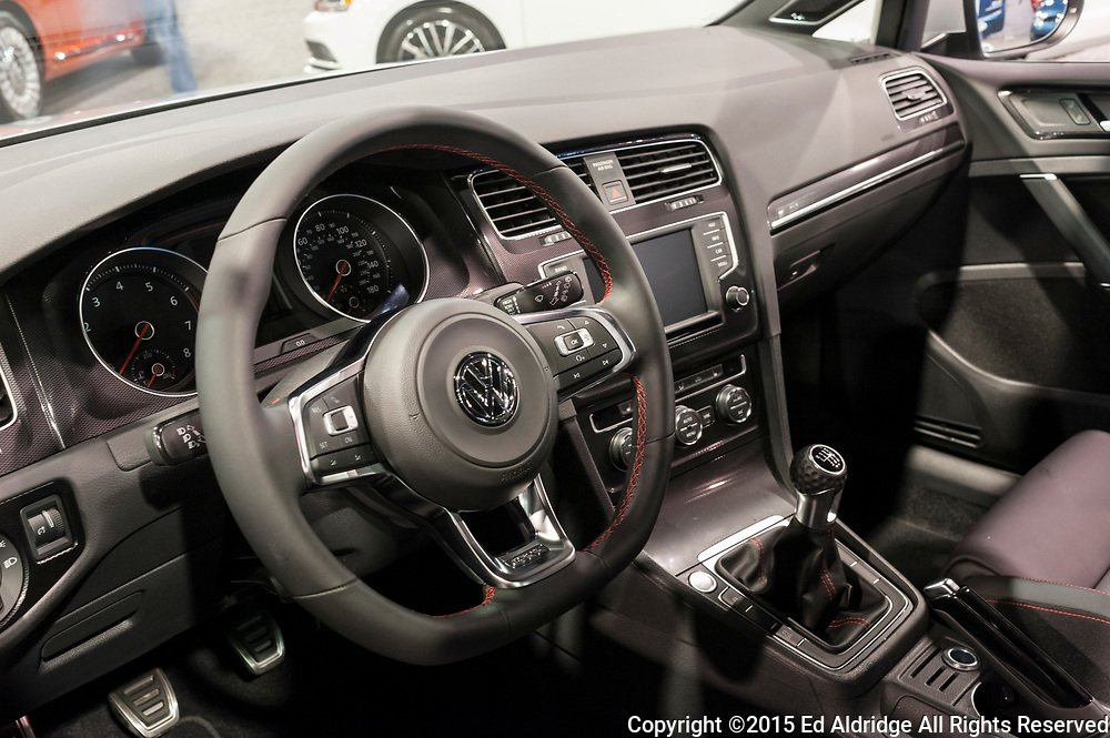CHARLOTTE, NC, USA - November 11, 2015: Volkswagen Golf GTI interior on display during the 2015 Charlotte International Auto Show at the Charlotte Convention Center in downtown Charlotte.