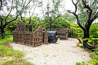 Palm frond houses and outpost on Rafuki Island, Vamizi Island, Mozambique