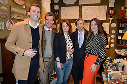 Left to right, CHARLIE McCORMICK, BEN PENTREATH, BRIDIE HALL with her dog Max, DIMITRI HORNE and MELINA HORNE at a party hosted by Melodi Horne & Pentreath & Hall at 17 Rugby Street, Bloomsbury, London on 12th February 2015.