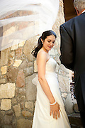 A Napa bride gets ready to walk down the aisle at her wedding.