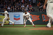 San Francisco Giants third baseman Eduardo Nunez (10) fields a ground ball against the Pittsburgh Pirates at AT&T Park in San Francisco, California, on July 25, 2017. (Stan Olszewski/Special to S.F. Examiner)