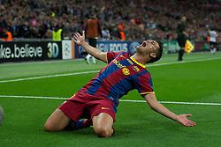 28-05-2011 VOETBAL: CHAMPIONS LEAGUE FINAL FC BARCELONA - MANCHESTER UNITED: LONDON<br /> David Villa celebrates scoring the third goal against Manchester United<br /> ***NETHERLANDS ONLY***<br /> ©2011- FotoHoogendoorn.nl/nph/Chris Brunskill