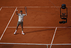 May 29, 2019 - Paris, France - Roger Federer of Switzerland celebrates victory during his mens singles second round match against Oscar Otte of Germany during Day four of the 2019 French Open at Roland Garros on May 29, 2019 in Paris, France. (Credit Image: © Mehdi Taamallah/NurPhoto via ZUMA Press)