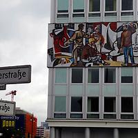 Europe, Germany, Berlin. Mural and Street Corner of (formerly East) Berlin.