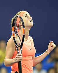 ZHUHAI, Nov. 5, 2016  Elina Svitolina of Ukraine celebrates after the women's singles semifinal against Johanna Konta of Britain at the WTA Elite Trophy tournament in Zhuhai, south China's Guangdong Province,on Nov. 5, 2016. Elina Svitolina won 2-1. (Credit Image: © Lu Hanxin/Xinhua via ZUMA Wire)
