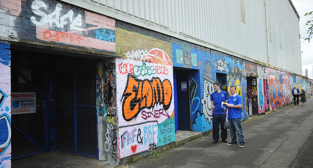 Portsmouth fans congregate outside Fratton Park<br /> <br /> Photographer Kevin Barnes/CameraSport<br /> <br /> Football - The Football League Sky Bet League Two - Portsmouth v Newport County AFC - Saturday 30th August 2014 - Fratton Park - Portsmouth<br /> <br /> © CameraSport - 43 Linden Ave. Countesthorpe. Leicester. England. LE8 5PG - Tel: +44 (0) 116 277 4147 - admin@camerasport.com - www.camerasport.com