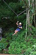 Zipline ride, Outfitters Kauai, Kauai, (editorial use only, no model release)<br />