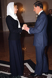 Queen Noor of Jordan receives Prince Charles of Wales during King Hussein's funeral at the Royal palace in Amman, Jordan on February 8, 1999. Twenty years ago, end of January and early February 1999, the Kingdom of Jordan witnessed a change of power as the late King Hussein came back from the United States of America to change his Crown Prince, only two weeks before he passed away. Photo by Balkis Press/ABACAPRESS.COM