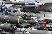 Missiles at the Paris Air Show, at Le Bourget Airport, France. Held every other year, the event is one of the world's biggest international trade fairs for the aerospace business.