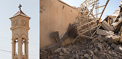 © Licensed to London News Pictures.  Before and after pictures showing life before ISIS occupation of Hamdaniyah in Iraq, and life after liberation from ISIS. PICTURED - The bell tower stood tall before ISIS invasion (left) and  two years later after being demolished by the Islamic State during their occupation of the town (right). .  Hamdaniyah, and much of the Nineveh plains, were captured by the Islamic State during a large offensive on the 7th of August 2014 that saw the extremists advance to within 20km of the Iraqi Kurdish capital Erbil. Residents of the town  included many Christian refugees who escaped there after the fall of Mosul.  Photo credit: Matt Cetti-Roberts/LNP