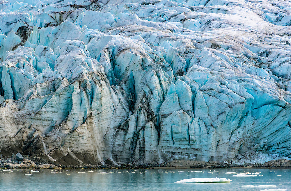 Close up of the ise of Smeerenburg Glacier, north-western Spitsbergen, Svaølbard, Norway. Photo from August 2019.