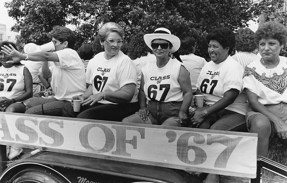 ©1987 Summer class reunions, Class of 1967 in the Chisolm Trail parade in downtown Lockhart, Texas south of Austin