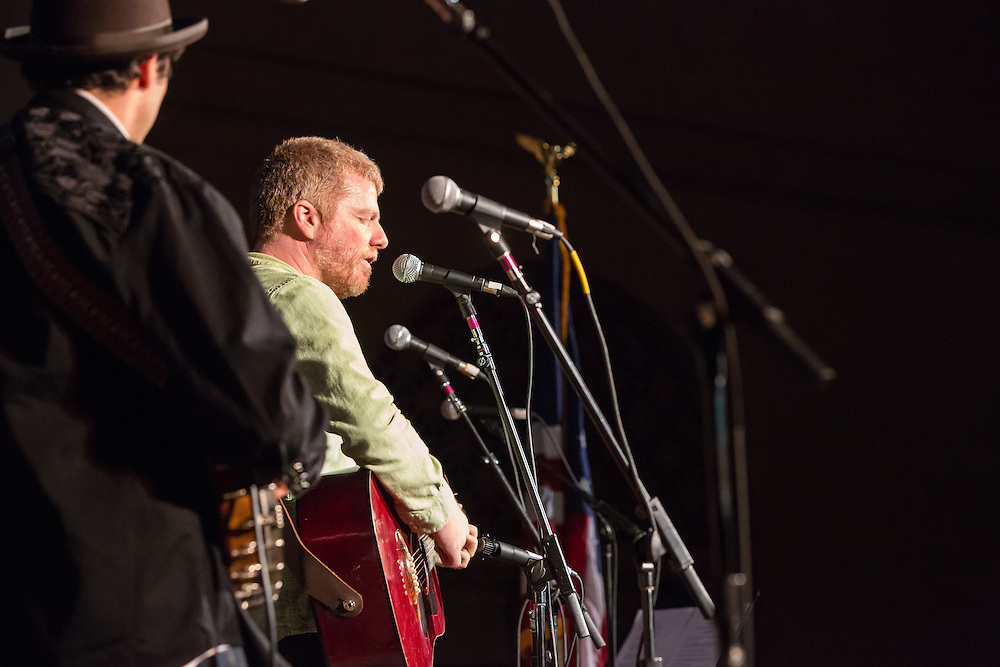 A. C. Newman, founder of the group The New Pornographers, sings at the Folk City benefit concert. The concert was held to support a forthcoming exhibit on the folk msusic revival in New York in the 1950s and 60s.