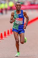 Tola Shura Kitata (Ethiopia) crosses the finish line in as fourth place finisher, in the Men's Elite race, during the Virgin Money 2019 London Marathon, London, United Kingdom on 28 April 2019.