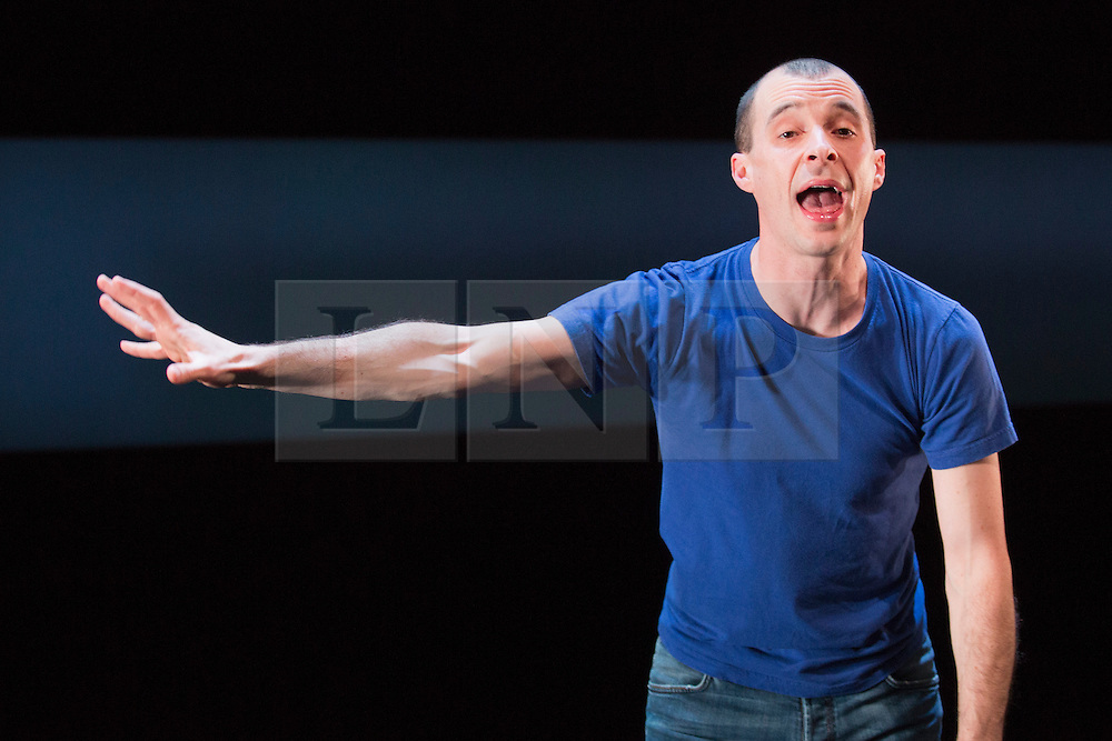 """© Licensed to London News Pictures. 19/11/2014. London, England. Actor Tom Vaughan-Lawlor performs as The Howie Lee/The Rookie Lee in the one-man play """"Howie the Rookie"""" by Mark O'Rowe at the Barbican's Pit Theatre, London, UK. The Landmark Productions play is directed by Mark O'Rowe runs from 19 to 29 November 2014 in the Pit, Barbican Centre. Photo credit: Bettina Strenske/LNP"""