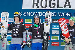 Edwin Coratti (ITA), Daniele Bagozza (ITA), Rok Marguc (SLO), celebrates  during Final Run at Parallel Giant Slalom at FIS Snowboard World Cup Rogla 2019, on January 19, 2019 at Course Jasa, Rogla, Slovenia. Photo byJurij Vodusek / Sportida