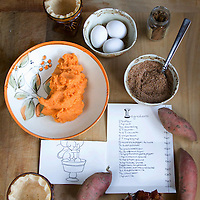 Claire's adorable illustrated recipe card with some of the ingredients used in her spicy miniature sweet potato pies with candied bacon.