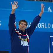 Michael Phelps, USA,  winning the men's 100m Butterfly at the World Swimming Championships in Rome on Saturday, August 01, 2009. Photo Tim Clayton.