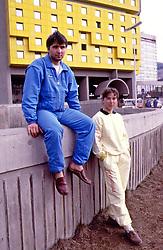 SMUCANJE - SKI - FINALE SVETSKOG KUPA - ROK PETROVIC i MATEJA SVET, YUG  smucari Jugoslavije, ispred hotela Holiday Inn.<br /> Sarajevo, 23.03.1987.<br />  photo:Nebojsa Parausic / Sportida