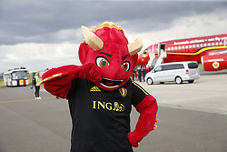June 13, 2018 - Zaventem, BELGIUM - Red Devils' mascot called 'Red' pictured on the tarmac ahead of the players arrival for the departure of the Belgian national soccer team Red Devils, Wednesday 13 June 2018, in Zaventem airport. The Red Devils flight to Moscow today for the FIFA World Cup 2018...BELGA PHOTO THIERRY ROGE (Credit Image: © Thierry Roge/Belga via ZUMA Press)
