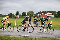 Alexis Ryan (USA) rides past some local fans in the long loop of the Crescent Vargarda - a 152 km road race, starting and finishing in Vargarda on August 13, 2017, in Vastra Gotaland, Sweden. (Photo by Balint Hamvas/Velofocus.com)