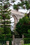 Botanical gardens, Coimbra, Portugal. Sao Sebastiao Aqueduct in the background