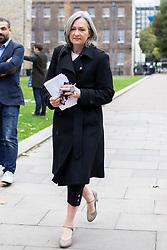 © Licensed to London News Pictures. 03/10/2019. London, UK. Westminster Leader of Plaid Cymru Liz Saville-Roberts departs College Green .  Photo credit: George Cracknell Wright/LNP