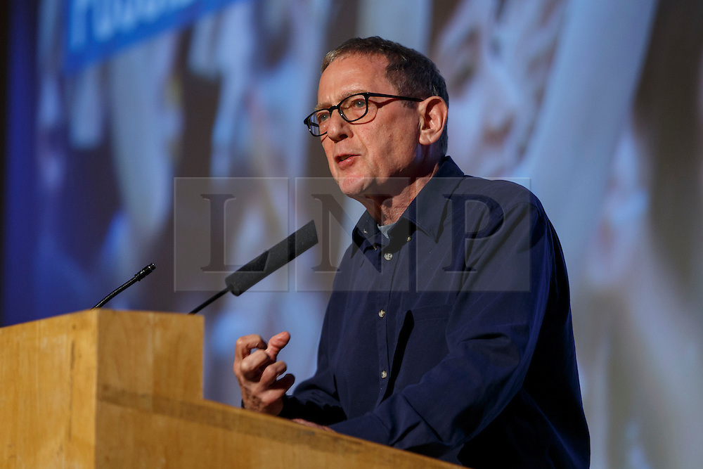 """© Licensed to London News Pictures. 28/05/2016. London, UK. Anthony Barnett speaking at """"Another Europe is Possible"""" rally at UCL Institute of Education in London, campaigning for a remain vote at the upcoming EU referendum.  Speakers at the event include Shadow Chancellor John McDonnell, former Greek Finance Minister Yanis Varoufakis and Green Party MP Caroline Lucas. Photo credit: Tolga Akmen/LNP"""