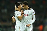 Dele Alli of Tottenham Hotspur ® celebrates with Son Heung-Min of Tottenham Hotspur after scoring his sides 1st goal to make it 1-1. UEFA Champions league match, group E, Tottenham Hotspur v CSKA Moscow at Wembley Stadium in London on Wednesday 7th December 2016.<br /> pic by John Patrick Fletcher, Andrew Orchard sports photography.