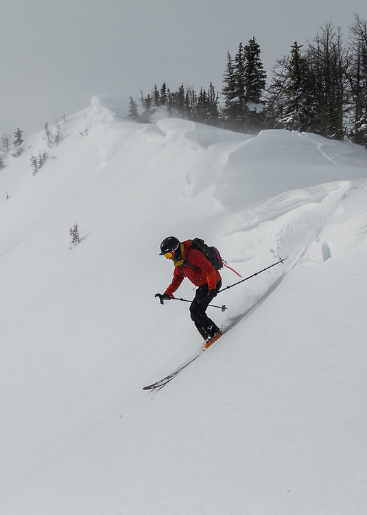 Taylor Sullivan skiing the upper section of Simpson 1 in Kootenay National Park