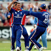 England's Darren Gough celebrates the wicket of Sourav Ganguly with the first ball of the day