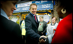 The British Prime Minister Tony Blair meets residents as he  walks the streets of Falonwood Nr Welling,Today Tuesday 9th November 2004 on the day the Government annouce A Police reform policy Paper  .PA Photo Andrew Parsons WPA POOL