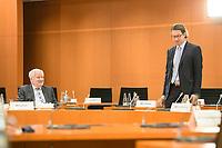 02 SEP 2020, BERLIN/GERMANY:<br /> Horst Seehofer (L), CSU, Bundesinnenminister, und Andreas Scheuer (R), CSU, Bundesverkehrsminister, im Gespraech, vor Beginn einer SItzung des Kabinetts im grossen Sitzungssaal, der aufgrund der Corona-Vorgaben fuer die Kabinettsitzung genutzt wird, Budneskanzleramt<br /> IMAGE: 20200902-01-003<br /> KEYWORDS: Sitzung, Kabinett, Gespräch