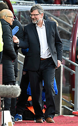 Hearts manager Craig Levein celebrates with some of his backroom staff after the final whistle of the Ladbrokes Scottish Premiership match at Tynecastle Stadium, Edinburgh.